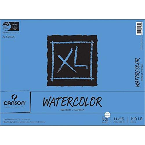 سعر Canson XL Series Watercolor Textured Paper Pad for Paint, Pencil, Ink, Charcoal, Pastel, and Acrylic, Fold Over, 140 Pound, 11 x 15 Inch, 30 Sheets (7022446)