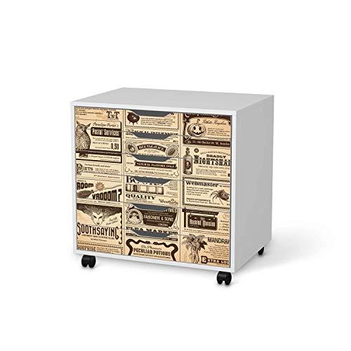 Wandtattoo Möbel passend für IKEA Alex Rollcontainer 6 Schubladen I Möbelaufkleber - Möbel-Tattoo Sticker Aufkleber I Wohnen und Dekorieren für Wohnzimmer und Schlafzimmer - Design: Vintage Newspaper