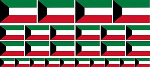 Mini Aufkleber Set - Pack glatt - 4x 51x31mm+ 12x 33x20mm + 10x 20x12mm- Sticker - Kuwait - Flagge - Banner - Standarte fürs Auto, Büro, zu Hause & die Schule - Set of 26