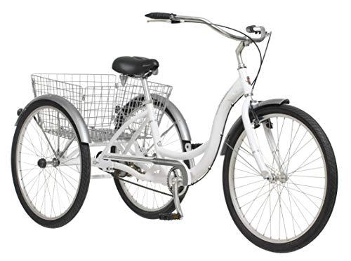 Schwinn Meridian Adult Trike, Three Wheel Cruiser Bike, 1-Speed, 26-Inch Wheels, Cargo Basket, White