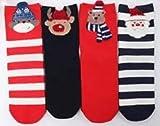 YKKJ 5 Pares de Calcetines Navideños para Mujeres Calcetines Cómodos para Invierno, Calcetines para Hombres y Mujeres, Algodón Novedoso, con Patrón Mágico de Santa.