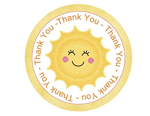 Sunshine Thank You Stickers 24pcs, Summer Party Favors, Sunny Baby Shower, Smiley Face Tag Decorations Supplies