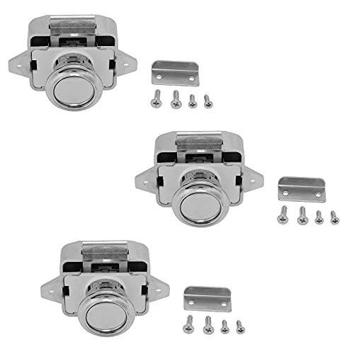Paquete De 3 Cerraduras De Gabinete, UNISOPH Cerraduras de botón RV, Pestillo de botón pulsador Para Rv, Autocaravana Camper, Yates