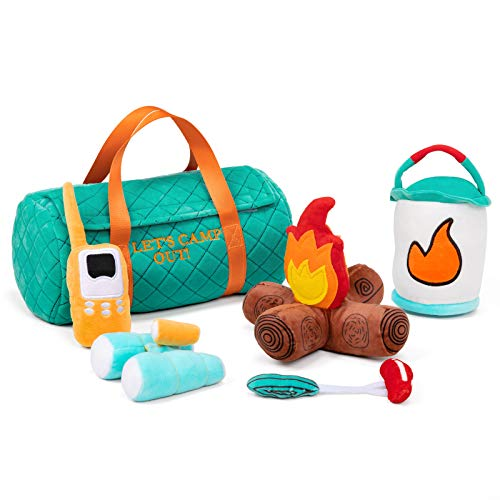 TCBunny 6 Piece Set of Plush Soft Stuffed Camp Out Playset, Imaginative Play, Camping Toy with Sounds, Toddler for Ages 3+
