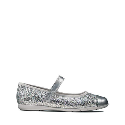 Clarks Mädchen Dance Tap T Geschlossene Ballerinas, Silber (Silver Synthetic Silver Synthetic), 27 EU