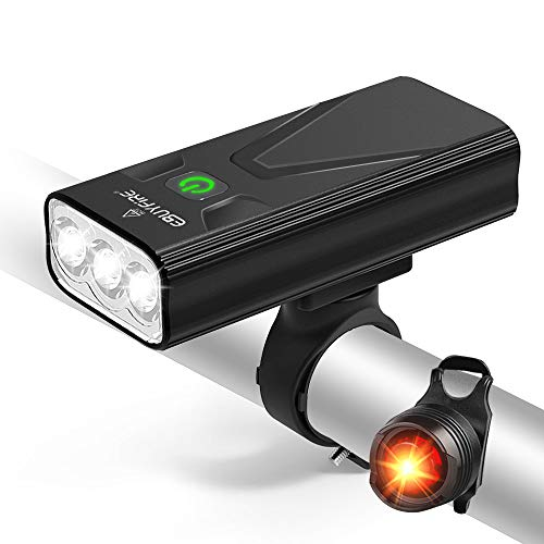 EBUYFIRE USB Rechargeable Bike Light Set, Ultra Bright LED Bike Lights Front and Back, 3 Light Mode, Most Powerful Bicycle Headlight and Taillight for Cycling, Fits All Bikes (3000lumens)