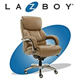 La-Z-Boy Executive Comfort Core Cushions, Office Chair with Black Wood Accents, Bonded Leather, Beige