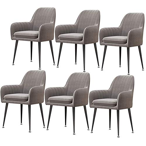 Set of 6 Velvet Dining Chair Scandinavian Style Design Upholstered Arm Chair with Black Metal Legs for Dining Room Living Room Kitchen (Color : Gray)