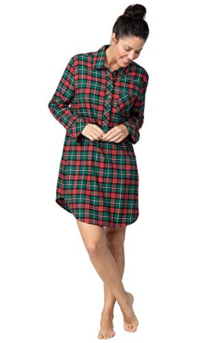 PajamaGram Flannel Sleep Shirt Women - Night Shirt Womens, Red/Green, M / 8-10