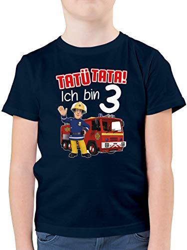 Feuerwehrmann Sam Jungen - Tatü Tata! Ich Bin 3 - rot - 104 (3/4 Jahre) - Dunkelblau - Jungen Langarm Tshirt - F130K - Kinder Tshirts und T-Shirt für Jungen