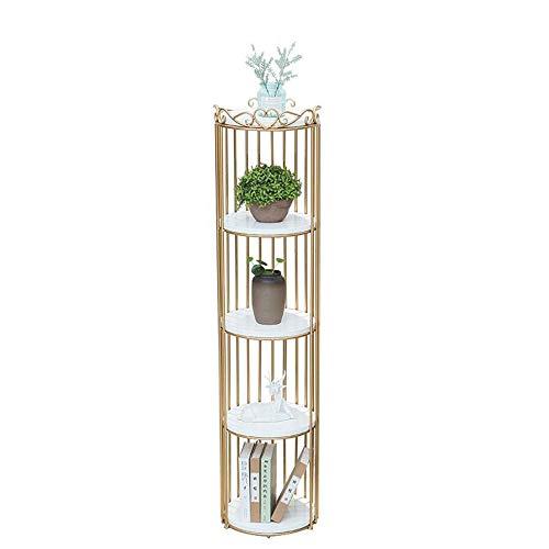 JCNFA planken metalen frame boekenkasten staande rekken opslag plant stand opslag plank voor tuin badkamer woonkamer 14.96 * 14.96 * 62.99in Gold+white