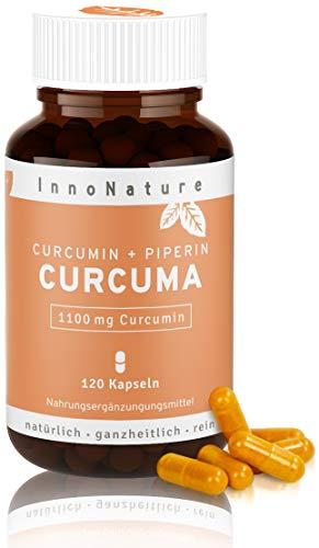 Hochdosierte Curcuma/Kurkuma + Piperin Kapseln mit 1100mg reinem Curcuminoide Gehalt. 120 Kapseln im Monatsvorrat. Laborgeprüft, hohe Verwertbarkeit, vegan + hergestellt in DE.