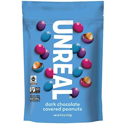 UNREAL Dark Chocolate Peanut Gems | Non-GMO, Vegan Certified, Colors from Nature | 3 Bags