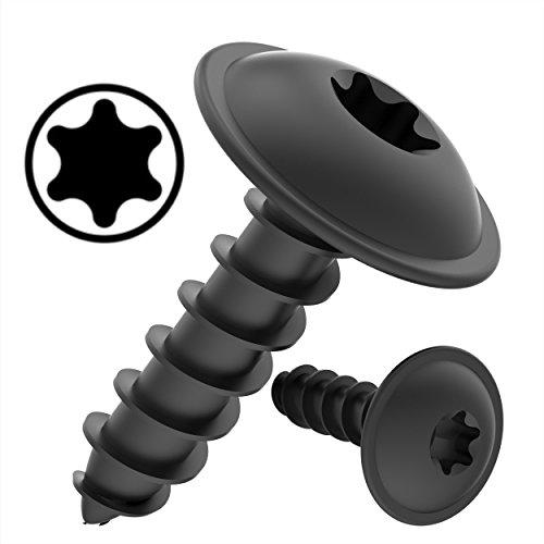 100 AUPROTEC Blechschrauben 3,9 x 19 mm Flachkopf mit Scheibe TORX schwarz verzinkt DIN 7049-3,9 x 19 mm, 100 Stück