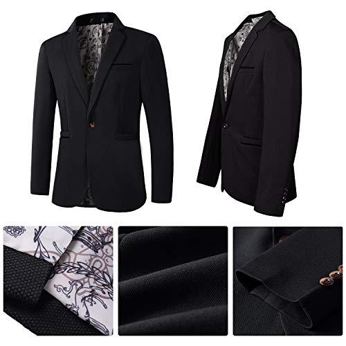 Men's Casual Dress Suit Slim Fit Stylish Blazer Coats Jackets (Black,US Medium/Label XXX-Large)