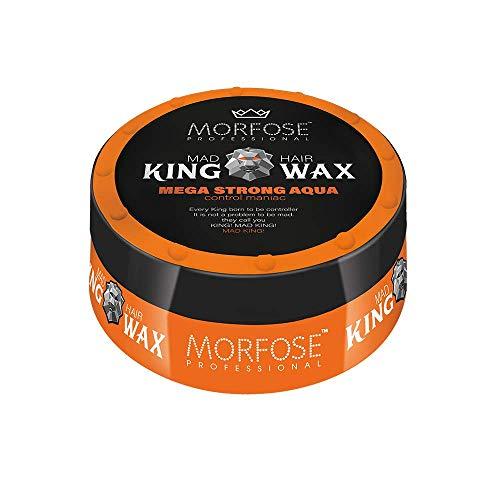 Morfose King Hair Wax 175ml Haarwachs Mad,Lion,Wise,Dark,Brave Haargel Matt Gel-Wax Haar Styling (1X Mega Strong Aqua (Orange))