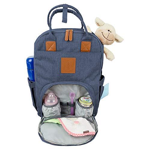 JBC Baby Wickelrucksack Wickeltasche mit Wickelunterlage und Kinderwagen Haken Multifunktional Oxford Wasserdichte Große Kapazität Babytasche für Reise (Jeans Blau)