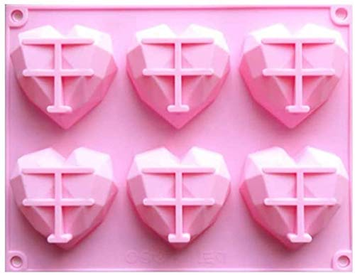 HANGHANG 3D Diamond Geometric Love Herzform Silikonform, 6 Cavity Silikon 3D Herzform Kuchenform (A)