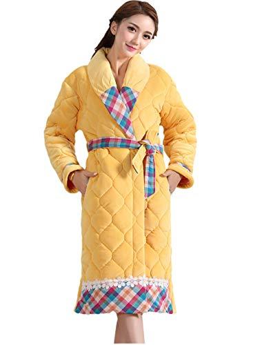 Albornoz de Mujer Super Suave,Albornoz clásico cálido,Camisón Acolchado Grueso, Albornoz Largo y cálido-Yellow_M