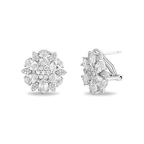 INSPIRED BY YOU. Rhodium Plated Sterling Silver Oval and Cut Cubic Zirconia Flower Shaped Stud Earrings for Women with Omega Back (White)