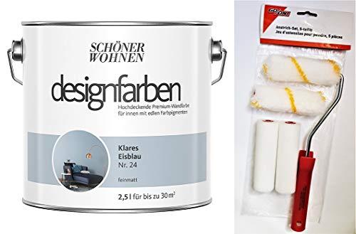 Schöner Wohnen designfarben feinmatte Wandfarbe für innen 2,5 Liter mit go/on Rollen-Set 5-tlg (Nr 24 Klares Eisblau)