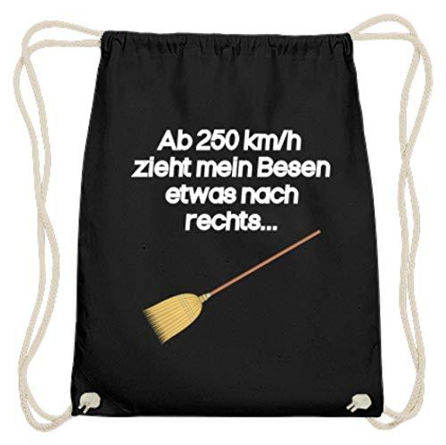 Hoogwaardige katoenen gymzak - vanaf 250 km/u trekt mijn bezem iets nas rechts heks - eenvoudig en grappig design