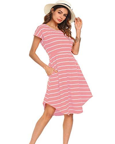 Halife Women's Summer Casual Stripe Elastic Waist Loose Beach Midi Dress (M, Pink)