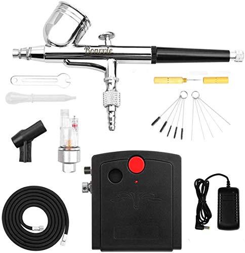 Bonvvie Airbrush-Set, Dual Action Airbrush für Make-up, Lackieren, Modellieren, Basteln, Maniküre, Tätowierungen, Kuchendekorationen, Luftkompressor mit automatischer Abschaltung und Reinigungsset