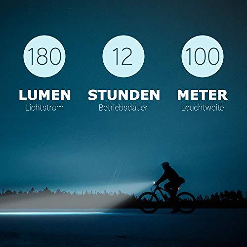 HEITECH StVZO Akku Fahrradlicht Set - Abblendfunktion, Tagfahrlicht, 180 Lumen, 100m Reichweite, regenfest, wiederaufladbar - Fahrrad Beleuchtungsset LED Fahrradbeleuchtung mit Frontlicht & Rücklicht - 6