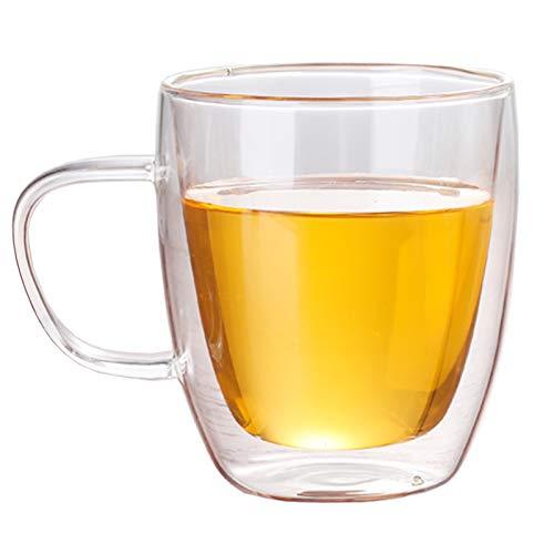 Bicchieri da 150 ml isolati a doppia parete con manici in borosilicato ad alta resistenza al calore, caffè succo di latte