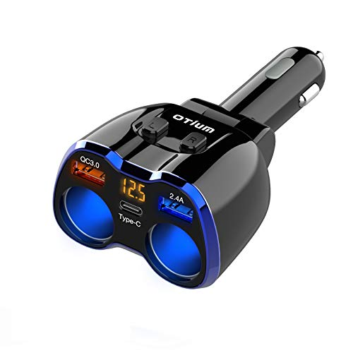 Car Charger, Otium 150W 2-Socket Cigarette Lighter Splitter QC 3.0 Dual USB Ports 1 PD 18W USB C Fast Car Adapter with Separate Switch LED Voltmeter Replaceable 15A Fuse for GPS Dash Cam Phone iPad