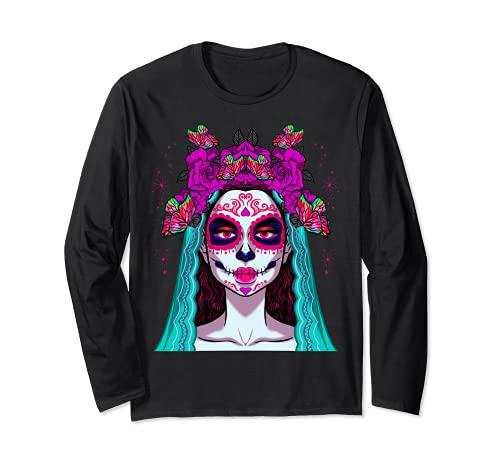 Dia De Los Muertos Esqueleto Crneo Mujeres Mexicanas Corona Chica Manga Larga