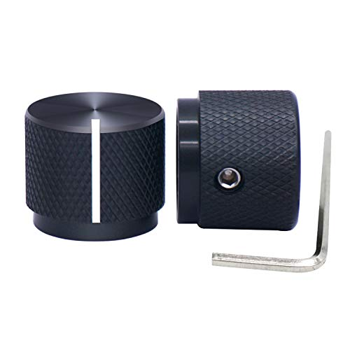 Taiss / 2pcs Black Aluminum Rotary Electronic Control Potentiometer Knob for 6 mm Diameter Shaft , Volume Control Knob , Audio knob, Guitar Knob,Switch Knob, 20mm Dia. x 17mm Height
