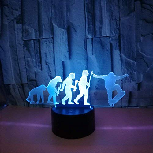 Night Light for Kids Night Stand Lamp Cool Skateboard 3D Lamp Led USB Mood Night Light Multicolor Touch Remote Luminaria Table Desk Lamp for Sports Fans Best Gift Remote Control 16 Colors