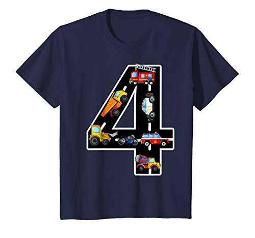 Kinder Geburtstagsshirt 4 Jahre Fahrzeuge Jungen 4. Geburtstag T-Shirt