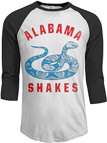 Alabama Shakes 2016 Tour Logo Mens 3/4 Sleeve Raglan Baseball T-Shirt Casual Cotton Classic Round Neck Tee Top Black,Black,XX-Large