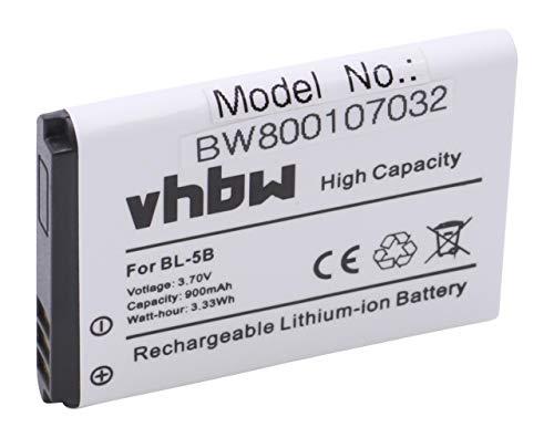 vhbw Li-Ion Akku 900mAh (3.7V) für Smartphone, Handy, Handy TOPBLUE V2.0 blu wie Nokia BL-5B.