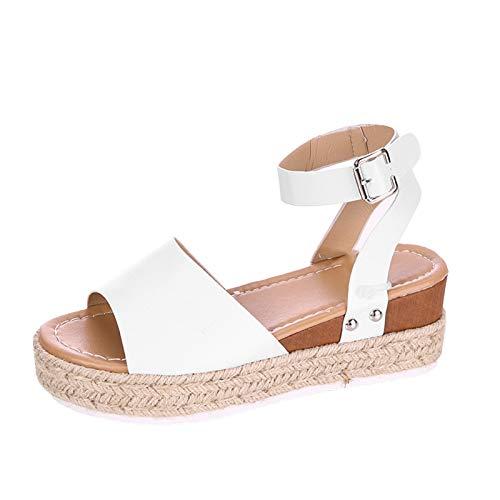 Ekrfxh Sandalias de plataforma para mujer con correa de hebilla de tobillo y puntera abierta, zapatos casuales, blanco, 38