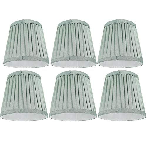Voluxe Cubierta de Tela para lámpara Suministros de luz Pantalla de lámpara de Mesa, Color Verde Pantalla de lámpara de 6 Piezas, para hoteles, Estudios, pasillos, pasillos, dormitorios, Salas de