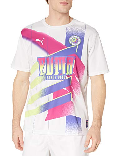 PUMA mens Retro White Jersey,Puma White-pink Glo,Medium