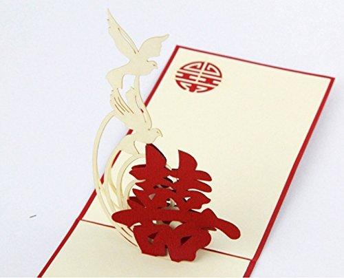 BC Worldwide Ltd Handgemachte doppelte Glück-Liebesvogel-orientalische Hochzeitskarten-Parteieinladungsglückwunschheirat-Vorschlags-Valentinsgrußgeschenk sie