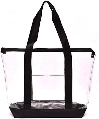 Clear Tote Bag Zipper Closure Long Shoulder Strap Fabric Trimming Black product image