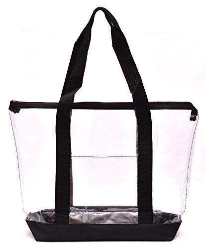 Clear Tote Bag - Zipper Closure, Long Shoulder Strap, Fabric Trimming. (Black)