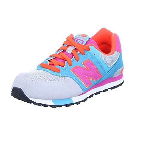 New Balance Unisex-Kinder KL574-WTG-M Sneakers, Mehrfarbig (Grey/Turquoise), 36 EU