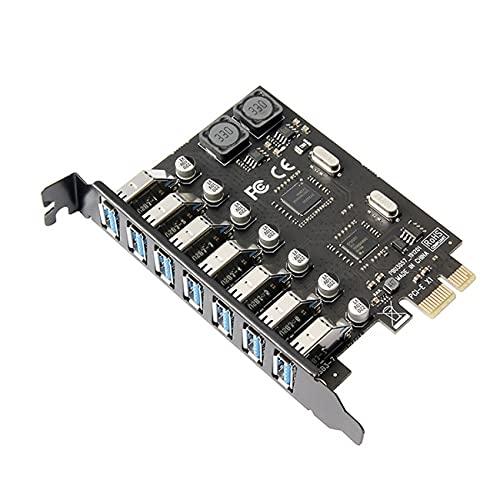 Cablecc 7 puertos PCI-E a USB 3.0 HUB PCI Express adaptador de tarjeta de expansión 5Gbps para placa base