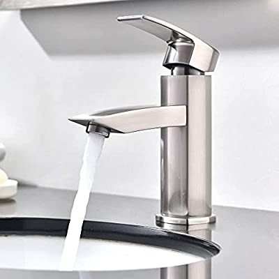 Hotis Commercial Single Handle Brushed Nickel Bathroom Faucet, Bathroom Sink Faucet with Water Supply Lines