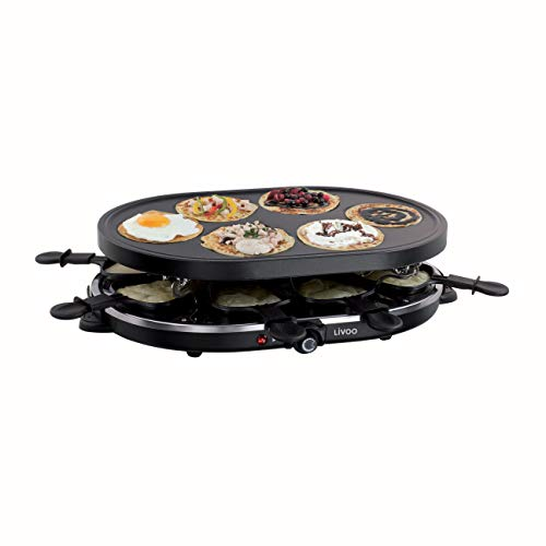Livoo DOC188 - Raclette y mini crepes, color negro