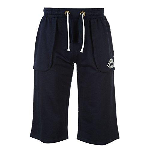 Lonsdale Box 3/4 Pantaloni Corsa Jogging Pantaloncini Uomo Blu Marino Large
