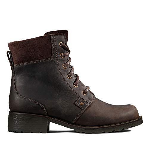 Clarks Damen Orinoco Spice Biker Boots, Braun (Dark Brown Nub), 41.5 EU