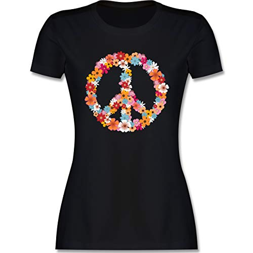 Statement - Peace Flower Power - L - Schwarz - Tshirt Flower Power Damen - L191 - Tailliertes Tshirt für Damen und Frauen T-Shirt